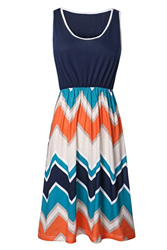 Zattcas Womens Summer Contrast Sleeveless Tank Top Chevron Striped Mini Dress (Small, Navy)