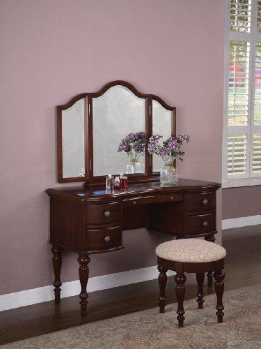 Cherry Finish Wood Vanity Mirror Bench Set