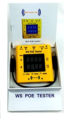 WS-PoE-Tester - Display power over ethernet operating values, from 9v to 56 volts, 0-5 amps, up to 120 watts, in 802.3af, 802.3at and passive modes - with active load at 10/100/1000 data rates