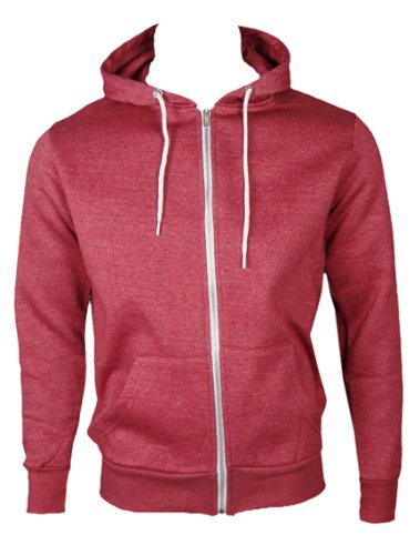 The Home of Fashion Mens Fleece Lined Hooded Jumper-XS -Faded Red