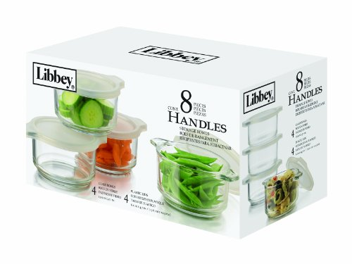 Libbey 15.9Ounce Handled Storage Containers with Plastic Lids, 8Piece Set Picture
