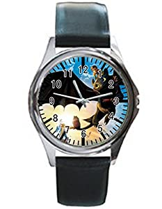 Dude Custom Train Your Dragon Men's Black leather watch round black custom watches Perfect Gift for men and women