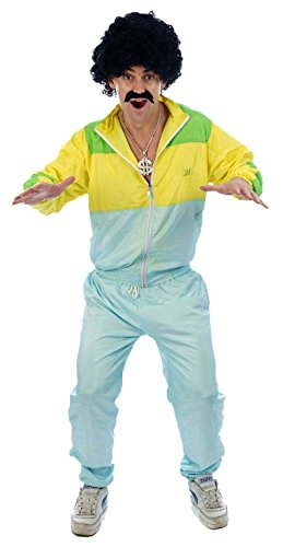 Shell Suit Scouser + Tash & Wig Mens Fancy Dress 1980s Tracksuit Costume One size