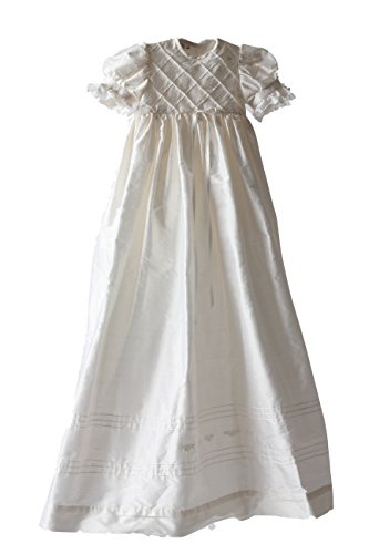 Poppet Heirloom 100% Silk Handmade Christening Gown Set With Headband And Booties front-14987