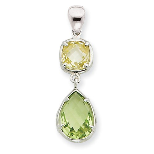 Sterling Silver Light Green & Yellow CZ Pendant