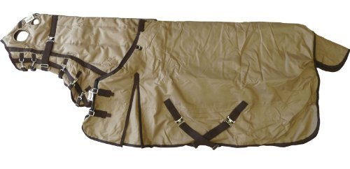 "600D Medium Weight Waterproof Horse Blanket And Hood Combo Tan, 68"" S back-449402"