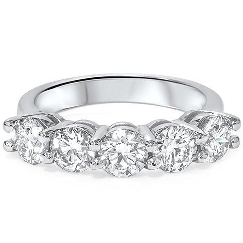 2ct Real Round Solitaire Diamond Wedding Anniversary 14K White Gold Ring