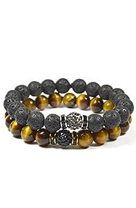 2 Pack Shamballa Lava Rock and Tiger Eye Bracelet