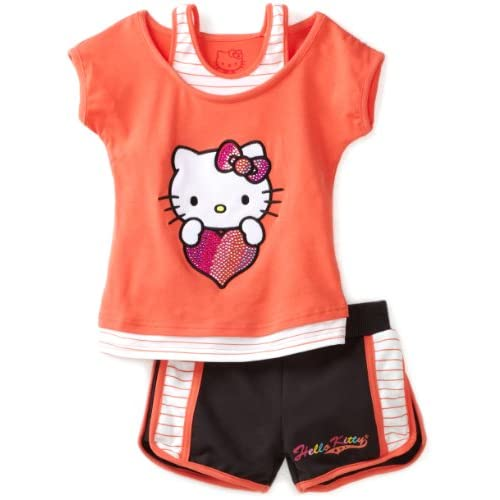 Hello Kitty Girls 2 6X Toddler Mesh Applique And Rhinestones On Short Set, Coral, 3T