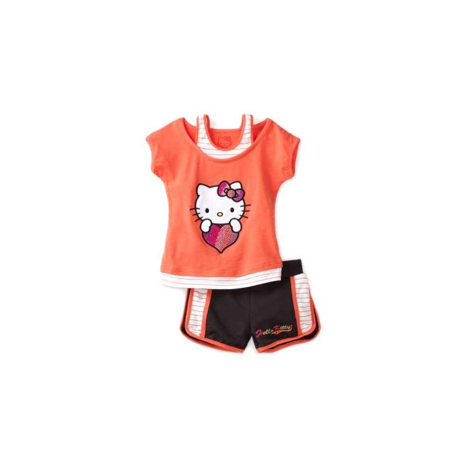 6283dcd56 Hello Kitty Girls 2 6X Toddler Mesh Applique And Rhinestones On Short Set,  Coral,