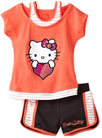 086b0ff14 Hello Kitty Girls 2 6X Toddler Mesh Applique And Rhinestones On Short Set,  Coral, 3T on PopScreen