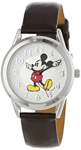 Disney Women's MCK532 Mickey Mouse Moving Hands Brown Strap Watch