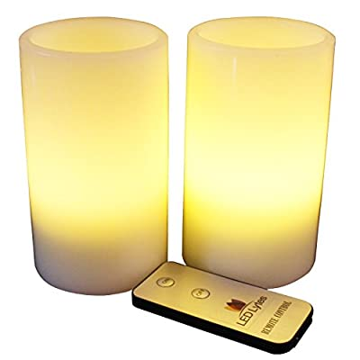 LED Lytes Flameless Candles, Battery Operated Pillars w/Remote Set of 2 Ivory Wax and Soft Pale Yellow Flame