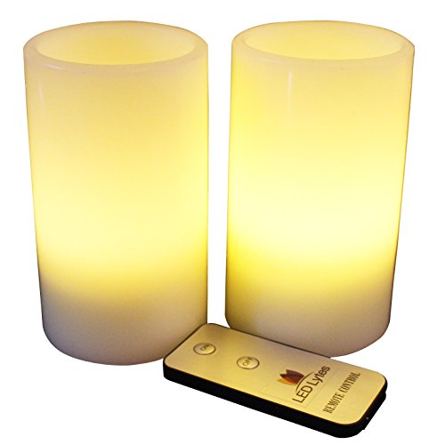 LED Lytes Flameless Candles, Battery Operated Pillars w/Remote Set of 2 Ivory Wax and Soft Pale Yellow Flame (Flameless Remote Candle compare prices)