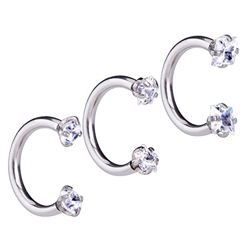 Charisma 3pcs 18G Clear Cubic Zirconia Stainless Steel Horseshoe Hoop Multi-functional Captive Ring for Nose Daith Lip Eyebrow Nipple Ear Cartilage Helix Septum (Eyebrow Rings Stainless Steel compare prices)