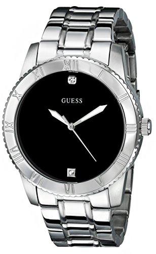 Guess Hombre u0416g1Plateada diamond-accented Reloj de mujer con esfera de color negro