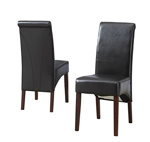 Simpli Home Avalon Collection 2 Pack Deluxe Parson Chair, Pu Leather, 2-Pack