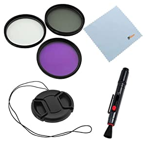 GTMax 55mm 3pc High Resolution Filter(UV CPL FLD) Kit + Lens Cap with Strap + Lens Pen Cleaning Kit for Sony A230 A290 A350 A380 A390 A850 A700 A900 SLT-A33 A55V A35 A37 A57 A65 A77 A99 with 18-55mm, 55-200mm, 75-300mm Lenses