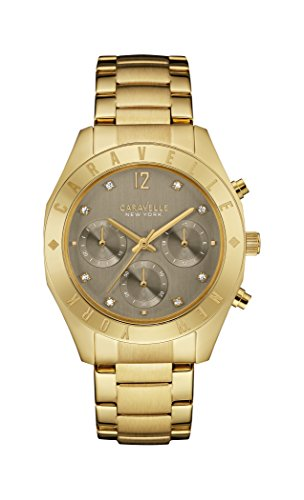 Caravelle New York Gold Boyfriend Women's Quartz Watch with Grey Dial Chronograph Display and Yellow Gold Bracelet 44L191