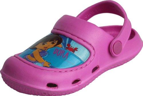 "Dora The Explorer Toddler Girls Pink ""Surfing Crab"" Clogs Shoes 5/6"