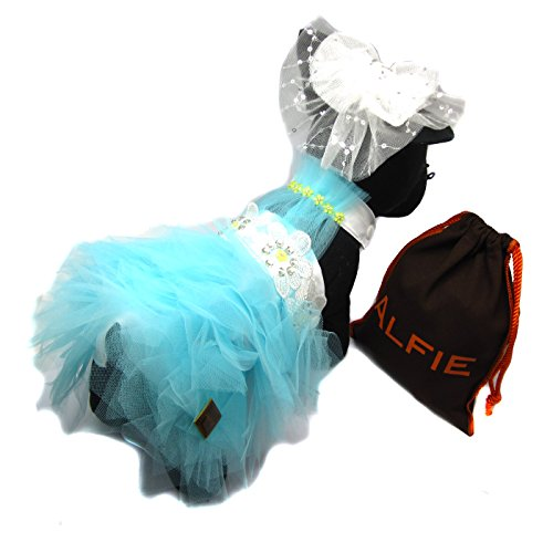 Alfie Pet by Petoga Couture – Annabella Bridal Wedding Gown: Tutu Party Dress with Clip Veil and Fabric Storage Bag – Color: Turquoise, Size: Small
