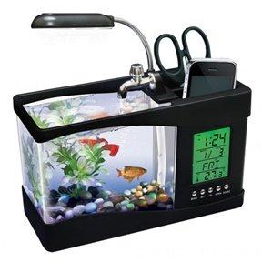 Usb Desktop Fish Aquarium, Real Fish Tank, Alarm Clock