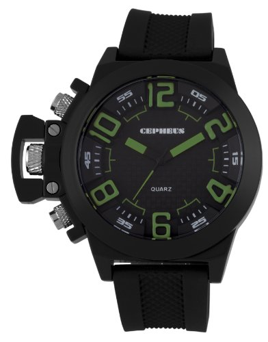 Cepheus Men's Quartz Watch with Black Dial Analogue Display and Black Silicone Strap CP901-622D