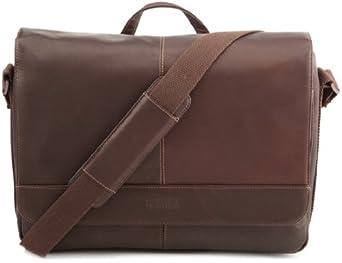 Kenneth Cole 真皮单肩通勤包Risky Business Messenger Bag 深棕色 $59.99