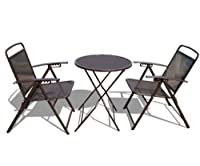 STRONG CAMEL Bistro set Patio Set Table and Chairs Outdoor Wrought Iron CAFE set METAL from SUNRISE