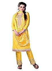 Aaliya yellow colored dress material