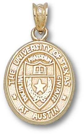 Texas Longhorns Oval Seal 5 8 Pendant - 14KT Gold Jewelry by Logo Art
