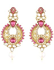 I Jewels Traditional Gold Plated Kundan & Stone Earrings For Women E2286Q (Pink/Rani)
