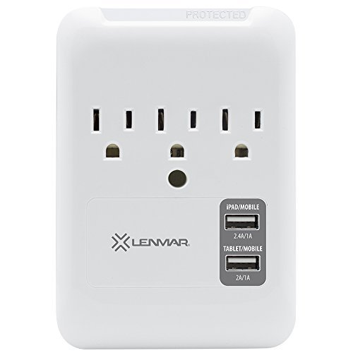 Lenmar 3-Outlet Wall Mount Surge Protector with 2 USB ports (3.4Amp output) for charging iPhone, iPad, Samsung Galaxy, Tablets & More