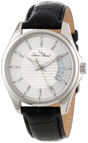 Lucien Piccard Men's 98660-02S Excalibur Silver Textured Dial Black Leather Watch