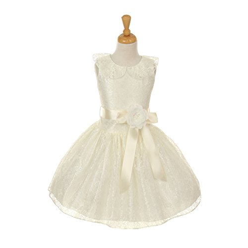 Cinderella Couture Little Girls Ivory Floral Lace Skater Occasion Dress 2-6