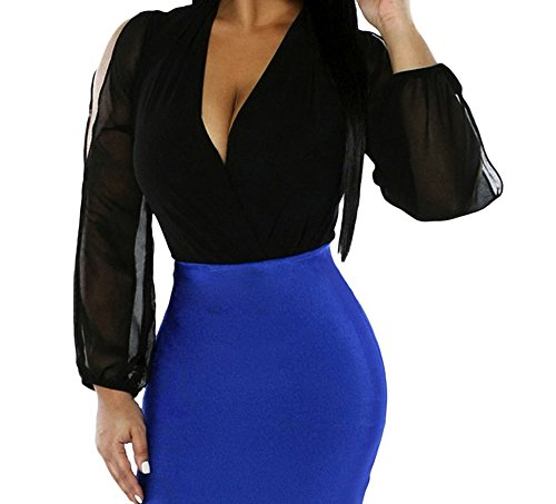 DH-MS Dress Women's V Neck Long Sleeve Chiffon Bodysuit Black M (Phase Liner Glove compare prices)