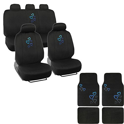 A set of 15 Piece Automotive Gift Set: 2 Lowback Seat Covers, 1 Bench Cover, 5 Headrests, 4 Floor Mats - Love Story Hearts Blue (Cover De Autos compare prices)