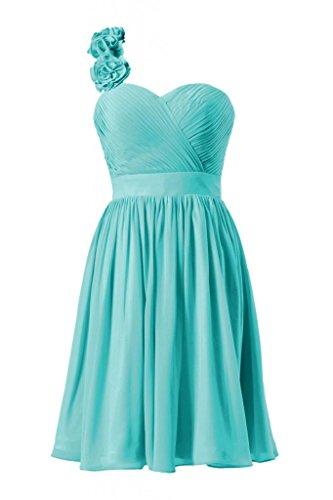 Daisyformals One-Shoulder Knee Length Chiffon Cocktail Bridesmaid Dress(Bm223)- Tiffany Blue