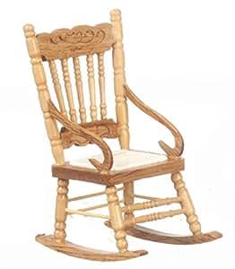 ... Dollhouse Miniature 1:12 Scale OAK Rocking Chair #T4301: Toys & Games