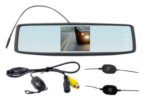 Rear View Mirror Wireless Back-Up Camera System With 4.3-Inch Tft Screen And Universal Mount Low Lux Camera With Scale Line