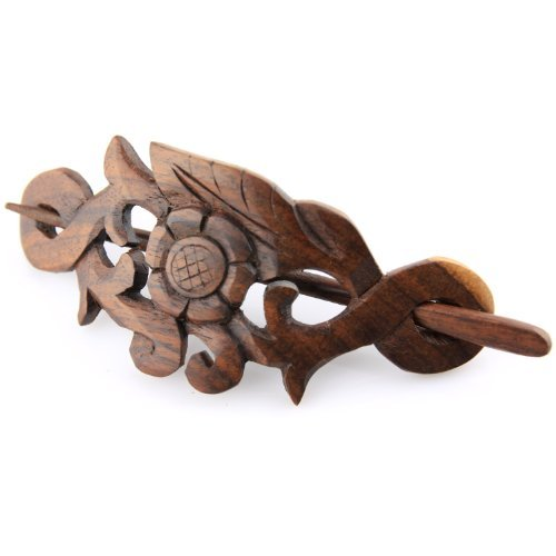 Evolatree - Hand Carved Sono Wood Natures Heart Floral Leaf Crest Hair Pin Barrette - 4 by Evolatree