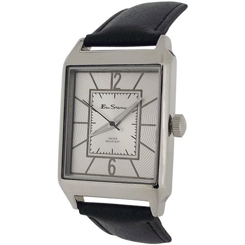 Ben Sherman Gents Textured Silver Dial Black PU Strap Dress Watch BS097