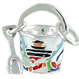 Sand Pail 925 Sterling Silver and Enamel Traditional Charm with Lighthouse Sailboat
