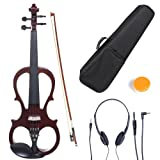 Cecilio 3/4 CEVN-1NA Solid Wood Electric/Silent Violin with Ebony Fittings in Style 1 - Mahogany Metallic (Color: mahogany, Tamaño: 3/4-size)