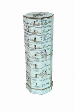 Blanc laqué Avec Mère de Pearl Commode 8tiroirs Meuble Oriental Feng