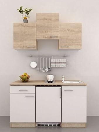 Singlekuche 150 cm breit Weiß Sonoma Eiche mit Geräten - Salerno