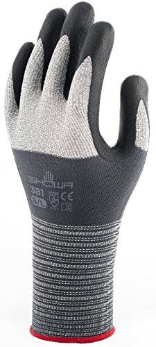Showa 381L Tessuto Träger in microfibra multiuso guanti con rivestimento in schiuma nitrile mikroporöser sul palmo, L, Grigio