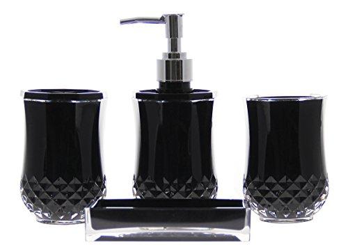 Justnile Acrylic 4 Piece Bathroom Accessory Set Opaque Black Home Garden Accessories Sets