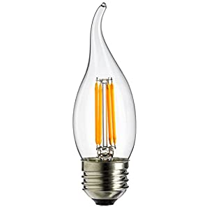 Sunlite EFC/LED/AQ/4W/E26/DIM/CL/27K LED Antique Filament Style 40W Equivalent EFC Flame Tip Chandelier Vintage Light Bulb with 2700K Medium (E26) Base Clear Dimmable, Warm White