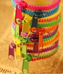 [Zipper bracelet] neon Bangle anklet zip MIX color Deluxe set of 6!
